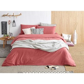Nordic Red Sanded Cotton 4-Piece Duvet Cover Sets