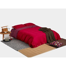 Bold Red Combed Cotton 4-Piece Duvet Cover Sets