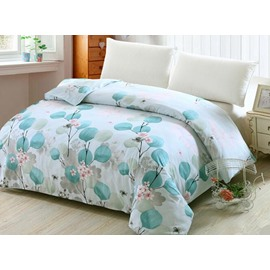 Elegant Leaves Print Light Blue 4-Piece Cotton Duvet Cover Sets