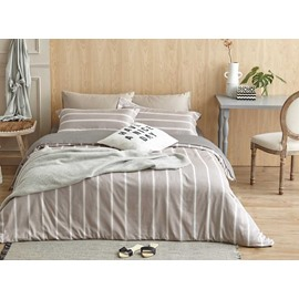 Neutral Stripe Print 4-Piece Cotton Duvet Cover Sets