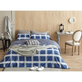 Unique Navy Blue Plaid Print 4-Piece Cotton Duvet Cover Sets