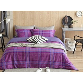 Noble Purple Plaid Print 4-Piece Cotton Duvet Cover Sets