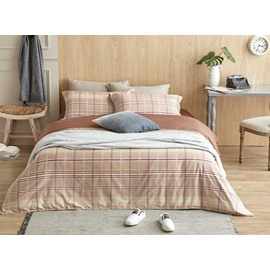 Popular Plaid Design Cotton 4-Piece Duvet Cover Sets