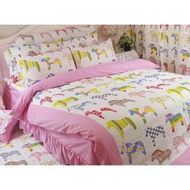 Pretty Horses 4 Pieces Kids 100%Cotton Duvet Cover Sets