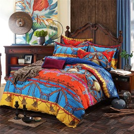 Boho Pattern Luxury Style 4-Piece Cotton Bedding Sets/Duvet Cover