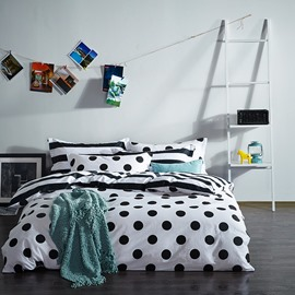 Unique Polka Dot Print 4-Piece Duvet Cover Sets