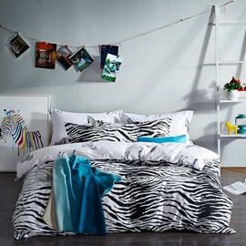 Chic Zebra Stripe Print Cotton 4-Piece Bedding Sets/Duvet Cover