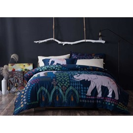 Designer 60S Brocade Pretty Exotic Elephants Printed Dark Blue 4-Piece Cotton Bedding Sets