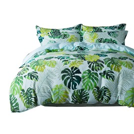 Designer 60S Brocade Fresh Tropical Green Leaves Printed Egyptian Cotton 4-Piece Blue Bedding Sets