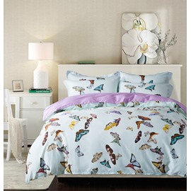Designer 60S Brocade Splendid Colorful Dancing Butterflies Printed 4-Piece Egyptian Cotton Bedding Sets