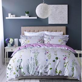 Designer 60S Brocade Pastoral Floral Egyptian White 4-Piece Cotton Bedding Sets/Duvet Cover