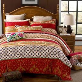 Elegant Bohemia Stripes Print Exotic Style Peached Cotton 4-Piece Bedding Sets/Duvet Cover