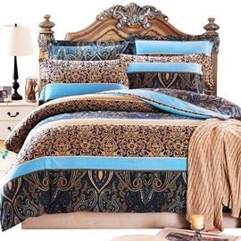 Special Arabesque and Stripes Print 4-Piece Cotton Duvet Cover Sets