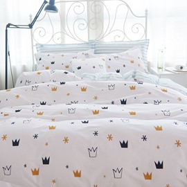 Concise Crown Print White 4-Piece Cotton Bedding Sets/Duvet Cover