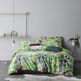 Pastoral Style Green Leaves Print 4-Piece Cotton Duvet Cover Sets