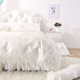 Dreamy White Lace Edging Princess Style 4-Piece Cotton Bedding Set/Duvet Cover