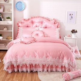 Princess Style Lace Trim Pink 4-Piece Cotton Duvet Cover Set Bedskirt
