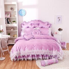 Excellent Lace Trim Purple 4-Piece Cotton Duvet Cover Set