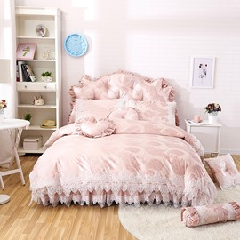 Popular Lace Trim 4-Piece Cotton Duvet Cover Set