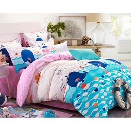 Adorable Cartoon Whale Print 4-Piece Cotton Duvet Cover Sets