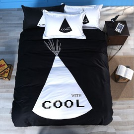 Unique Black and White Cool Print 4-Piece Cotton Duvet Cover Sets