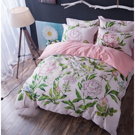 Designer 60S Brocade Pink Peony and Green Leaves Pastoral 4-Piece Cotton Bedding Sets
