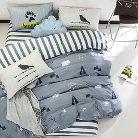 Adorable Cloud and Rain Printed Cotton 4-Piece Bedding Sets/Duvet Cover