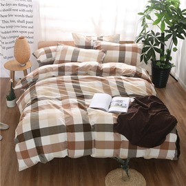 Brown and Black Plaid Print Vintage Style Cotton 4-Piece Bedding Sets