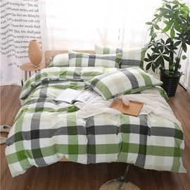 Green and Black Plaid Print Vintage Style Cotton 4-Piece Bedding Sets