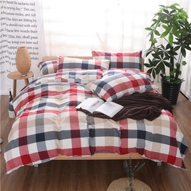 Red and Black Plaid Print Vintage Style Cotton 4-Piece Bedding Sets