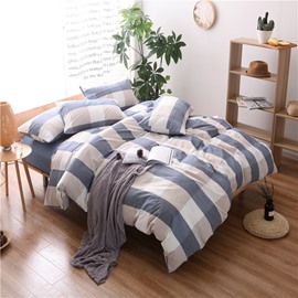 Blue Plaid Print Cotton 4-Piece Bedding Sets/Duvet Cover