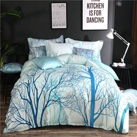 Designer 60S Brocade Trees and Branches Painting Pastoral Style Cotton 4-Piece Blue Bedding Sets