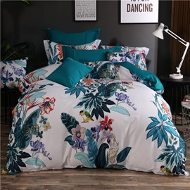 Designer 60S Brocade Painting Flowers Birds Pastoral Style 4-Piece Cotton Bedding Sets
