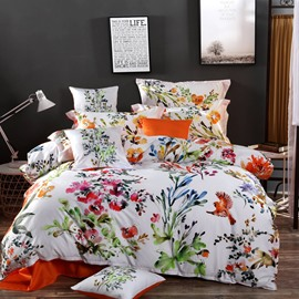 Designer 60S Brocade Birds Flowers Watercolor Painting Pastoral Style 4-Piece Cotton Bedding Sets