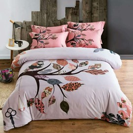 Birds and Branches Ethnic Style Pink Cotton 4-Piece Bedding Sets/Duvet Cover