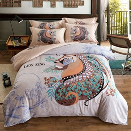 Classical Lion Pattern Ethnic Style Pink Cotton 4-Piece Bedding Sets/Duvet Cover