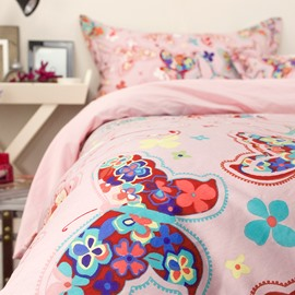 Colorful Butterflies Pattern Princess Style Pink Cotton 4-Piece Bedding Sets/Duvet Cover