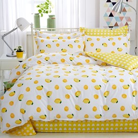 Yellow Lemon Fresh Style Cotton 4-Piece Bedding Sets/Duvet Cover