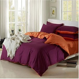 Solid Magenta and Orange Color Blocking Cotton 4-Piece Bedding Sets/Duvet Cover