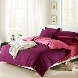 Solid Magenta and Pink Color Blocking Cotton 4-Piece Bedding Sets/Duvet Cover