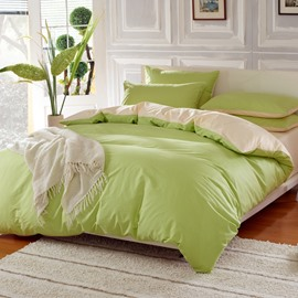 Solid Matcha Green and Beige Color Blocking Cotton 4-Piece Bedding Sets/Duvet Cover