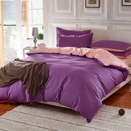 Solid Purple and Light Pink Color Blocking Cotton 4-Piece Bedding Sets/Duvet Cover