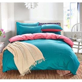 Solid Green and Bright Pink Color Blocking Cotton 4-Piece Bedding Sets/Duvet Cover