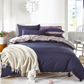 Solid Dark Blue and Gray Color Blocking Cotton 4-Piece Bedding Sets/Duvet Cover