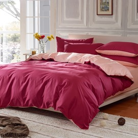 Solid Burgundy Red and Light Pink Color Blocking Cotton 4-Piece Bedding Sets/Duvet Cover