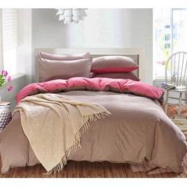 Solid Brown Gray and Pink Color Blocking Cotton 4-Piece Bedding Sets/Duvet Cover