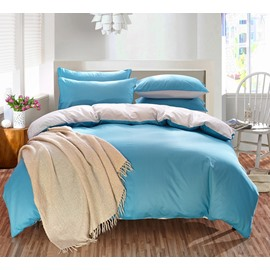 Solid Light Blue and Gray Color Blocking Cotton 4-Piece Bedding Sets/Duvet Cover