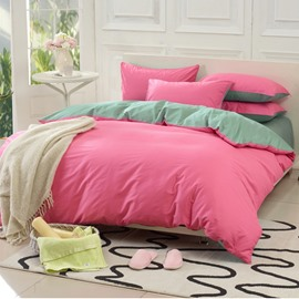 Solid Pink and Green Color Blocking Cotton 4-Piece Bedding Sets/Duvet Cover