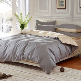 Solid Sliver Gray and Beige Color Blocking Cotton 4-Piece Bedding Sets/Duvet Cover