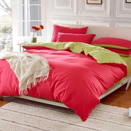 Solid Bright Red and Green Color Blocking Cotton 4-Piece Bedding Sets/Duvet Cover